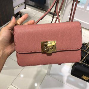 Michael Kors Tina 2-in-1 Leather clutch Rose Bag